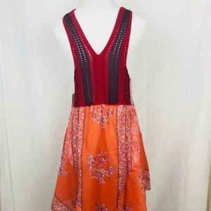 Red and yellow combination dress pattern
